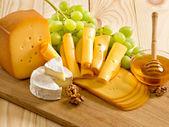 Natura morta di formaggio, miele, noci e uva — Foto Stock