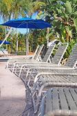 Pool sun loungers — Stock Photo