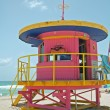 Stock Photo: Pink lifeguard tower