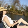 Stock Photo: Mature WomFishing on Boat