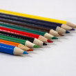 Color Pencils Lay in an Angle on a White Background — 图库照片