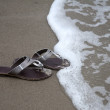Stock Photo: Flip-flops in Beach Sand