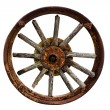 Cart Wheel made of wood isolated background — Stock Photo #50681673