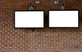 Faux boyalı ve dokulu taş duvar ile lcd tv — Stok fotoğraf