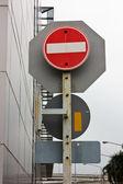 Traffic Signs safety transportation — Stock Photo