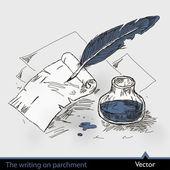 написание на пергаменте — Cтоковый вектор