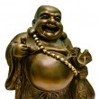 Happy laughing Buddha brass figurine - Stock Photo