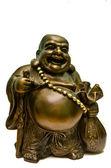 Happy laughing Buddha brass figurine — Stock Photo