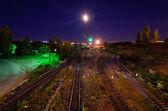 Railway tracks at night — Photo