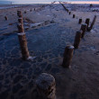 Tidal defences at dusk — Stock Photo