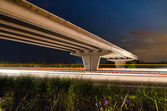 Night bridge to highway — Foto Stock