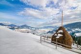 Haystack on the top of snow mountain — Foto de Stock