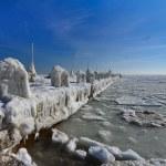 Frozen ice ocean coast - polar winter — Stock Photo #47088475