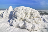 Frozen ice ocean coast - polar winter  — Stock Photo