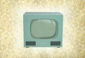 Vintage antiquariato tv su una carta da parati vintage — Foto Stock
