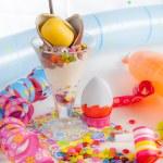 Ice cream with fruits — Stock Photo