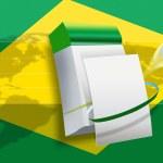 2014 Brazil world soccer championship flag — Stock Photo