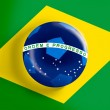 Brazil flag on full frame with a soccer ball — Stok fotoğraf