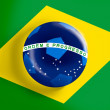 Brazil flag on full frame with a soccer ball — ストック写真