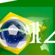 Постер, плакат: Brazil flag for the 2014 FIFA world soccer championship with a worldmap fifa