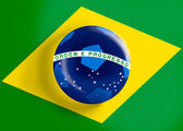 Brazil flag on full frame with a soccer ball — Stock Photo