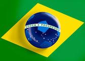 Brazil flag on full frame with a soccer ball — Stock Photo
