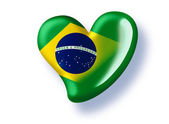 Green heart with a flag of brazil — Stock Photo