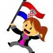 Businesswoman with flag — Stockvectorbeeld