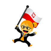 Cartoon frau bringen flagge — Stockvektor