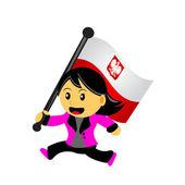 Cartoon woman bring flag — Vecteur