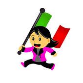 Cartoon woman bring flag — Stock Vector