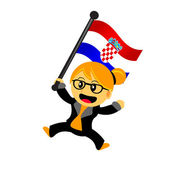 Cartoon woman bring flag — Vector de stock