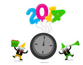 Cartoon character with new year 2014 themes — Stock Vector