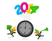 Cartoon-Figur mit Neujahr 2014 Themen — Stockvektor
