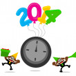 Cartoon character with new year 2014 themes — Stock Vector #35036045