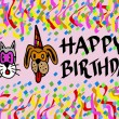 Happy birthday by pets — Stock Photo