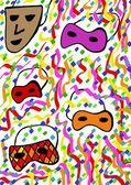 Wzór maski karnawałowe — Zdjęcie stockowe