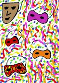 Carnival masks cubist pattern — Stock Photo