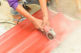 Cutting the roof tile — Stock Photo