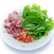 Ingredient of fried basil leave with pork — Stock Photo