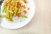 Stir fried pork and curry paste wite rice — Stock Photo