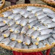 Dried fishs of local food at open market — ストック写真