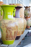 Colorful ceramic pots in market — Stock Photo