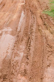 Wheel tracks on red color marshy road after raining — Stock Photo