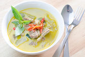 Green curry with pork   and fork spoon — Stock Photo