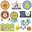 Animal labels and stickers — Stock Vector