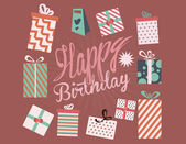 Colorful birthday present boxes — Vector de stock