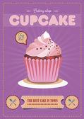Conception d'affiche vintage cupcake — Vecteur