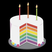 Cake with birthday candles — Vetor de Stock