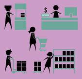 Men and women employees in the supermarket — Vetorial Stock